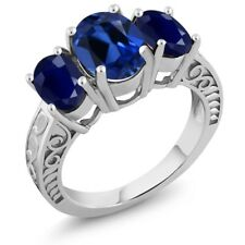 4.34 Ct Oval Blue Simulated Sapphire Blue Sapphire 925 Sterling Silver Ring