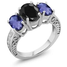 3.84 Ct Oval Black Sapphire Blue Iolite 925 Sterling Silver Ring