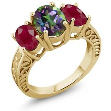 3.84 Ct Oval Green Mystic Topaz Red Ruby 18K Yellow Gold Plated Silver Ring