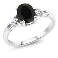 1.31 Ct Oval Black Onyx 925 Sterling Silver Ring