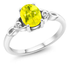 1.34 Ct Oval Canary Mystic Topaz White Sapphire 925 Sterling Silver Ring