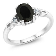 1.33 Ct Oval Black Onyx White Topaz 925 Sterling Silver Ring