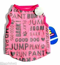 New listing Free Gift S M New Pink Grey Reflective Words Dog Shirt Pet Clothes Puppy Shirt