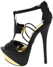Naughty Strappy Peep Toe Stiletto Stripper Shoes High Heels Platform Pumps Size