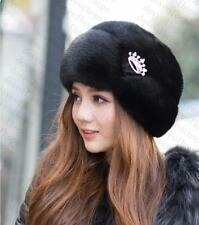 Genuine Winter Women Real New Mink Fur Hat Cap Headgear Beanie Beret   QS 0021