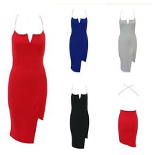 NEW WOMENS LADIES ASYMMETRIC HEM V NECK CUT CROSS BACK CAMI BODYCON MIDI DRESS