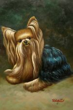 "Original Hand Painted ""Yorkshire Terrier"" 12x16 Oil Painting Animal Art"