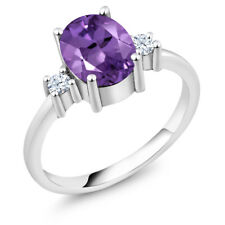 1.76 Ct Oval Purple Amethyst 925 Sterling Silver Ring