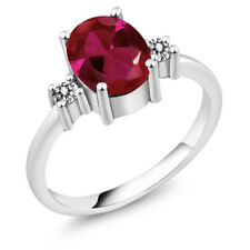 2.52 Ct Oval Red Created Ruby White Diamond 925 Sterling Silver Ring
