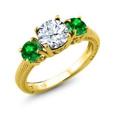 3.08 Ct White Topaz Green Simulated Emerald 18K Yellow Gold Plated Silver Ring