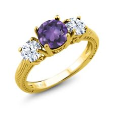 2.10 Ct Round Purple Amethyst White Topaz 18K Yellow Gold Plated Silver Ring