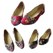 New Women Ballerina Ballet Dolly Pumps Ladies Black Flat Floral Shoes Size 4-6.5