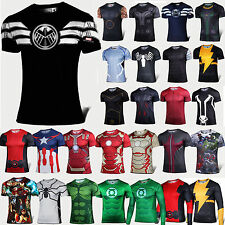 NEWEST Hommes Superhero Casual T-shirts Base Layers de sport Tops Jersey Cycling