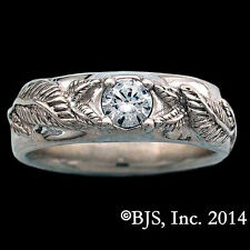 Official LORD OF THE RINGS Lorien Leaf NENYA RING OF POWER, Silver Band, Mens