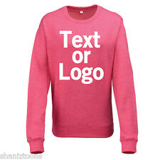 Ladies Womens Sweatshirt Pink and Heather Grey Personalised Text Logo