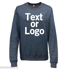 Ladies Womens Sweatshirt Navy Blue and Heather Grey Personalised Text Logo