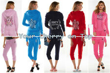 NWT Juicy Couture Embellished Terry Hoodie Capris Tracksuits Women's