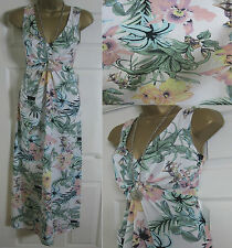 NEW EX DOROTHY PERKINS MAXI LONG DRESS SUMMER BEACH FLORAL IVORY PINK SIZE 8-22