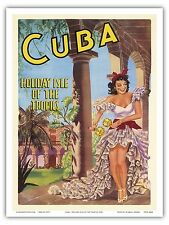 Cuba Island Tropics Dance Maracas Vintage World Travel Art Poster Print