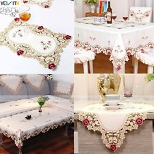 Embroidered Flower Cutwork Fabric Tablecloth Table Runner Cloth Mat Wedding Gift