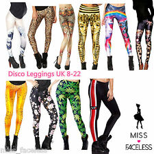 Donne Ragazze Discoteca Danza Yoga stampa lucida slim fit Crazy Leggings Pantaloni Pants