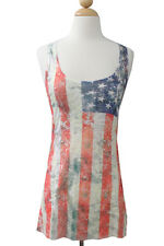 Women burn out sleeveless top with american flag design