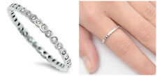 Sterling Silver 925 STACKABLE ETERNITY CLEAR CZ BAND DESIGN RING 2MM SIZES 2-12