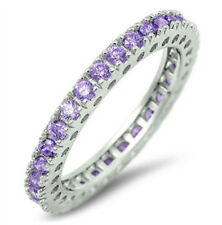 Sterling Silver 925 STACKABLE ETERNITY AMETHYST CZ DESIGN RING 3MM SIZES 5-10