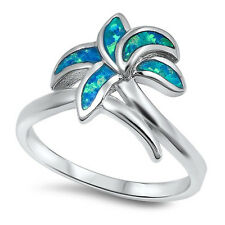 Sterling Silver 925 PRETTY PALM TREE BLUE LAB OPAL STONE DESIGN RING SIZES 5-10