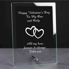 Personalised Engraved Valentines Day Glass Plaque - Special Gift