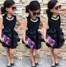 Baby Kids Girls Princess Evening Party Summer Black Striped Tulle Dress Age 2~8Y