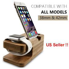 2 in 1 Phone Wooden Stand Charger Holder Docking Station for iPhone Apple Watch
