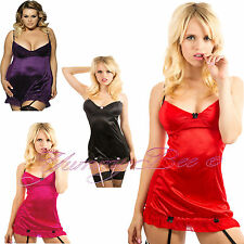 Sexy Lingerie Nightwear Babydoll Dress Ladies Lace Plus Size 8-30 Suspenders Set