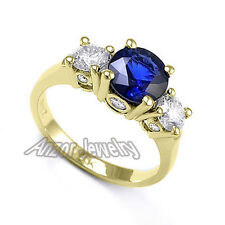 1.75 CWT Ceylon Sapphire and .78CWT Diamonds Engagement Ring in 18k Yellow Gold