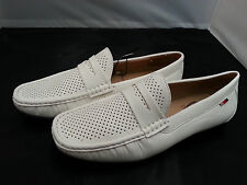 AUTH Phat Farm  Men's PERFORATED penny Loafers Shoes WHITE (STYLE # MG 116)