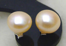 SALE 6-7mm Natural Pink Freshwater Flat round Pearl stud Earring-ear287