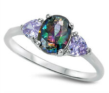 Sterling Silver 925 OVAL RAINBOW TOPAZ LAVENDER CZ ENGAGEMENT RING 8MM SIZE 4-12