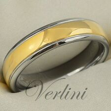 Tungsten Ring 6mm Two Tone - Gold & Titanium Color Wedding Band Size 6-13