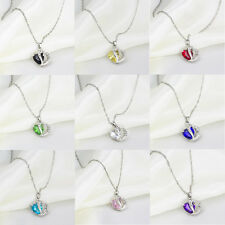 Fashion Womens Crystal Gemstone Chain Heart Necklace Pendant Jewelry Gift
