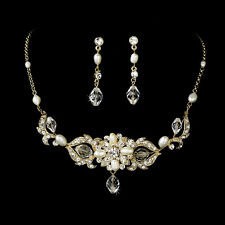 Gold Swarovski Freshwater Pearl Jewelry Set Bridal Wedding Necklace Earrings