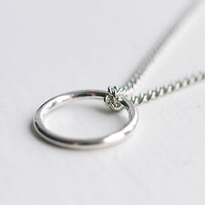 Eternity Ring Necklace - Circle of Life Infinity Friendship Silver Plated UK