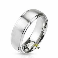 Stainless Steel 316L Brushed Metal Center Wedding Band Ring 6mm-8mm Wide Sz 5-14