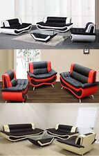 Faux Leather 3 Seater 2 seater Sofas in black brown or red