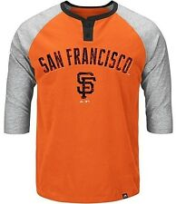 San Francisco Giants Majestic Force Play Henley Shirt Raglan Big & Tall Sizes