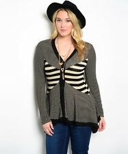 Finesse Striped Long Sleeves Y-Neck 3 Button Asymmetrical Sweater Size 1XL-3XL