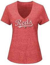 Cincinnati Reds MLB Majestic Women's Her Memory V Neck T Shirt Red Plus Sizes