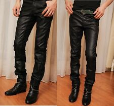 Boys Mens jeans pants PU leather trousers slim casual pleated pants skinny punk