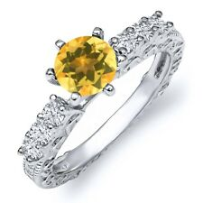 1.00 Ct Round Yellow Citrine 925 Sterling Silver Ring