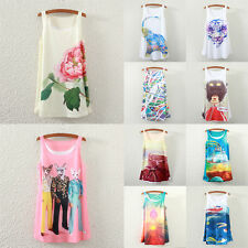 Fashion Women's Loose Casual Printed Tank Top Sleeveless Vest Shirt Tops Blouse