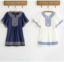 Women Bohemian Vintage 70s Ethnic Embroidery Mini Dress Casual Batwing Blouse